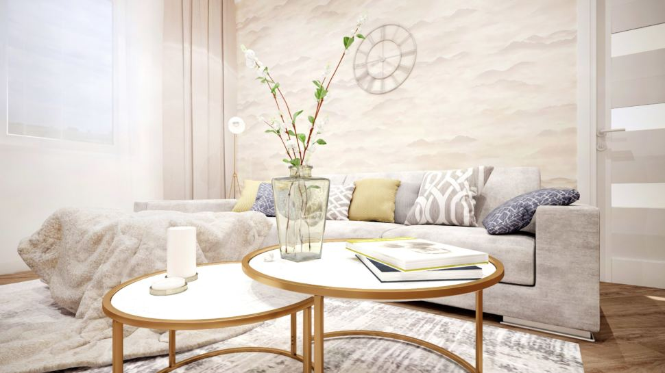 Гостиная вид на столик, журнальный столик, серый диван, подушки, торшер, фреска