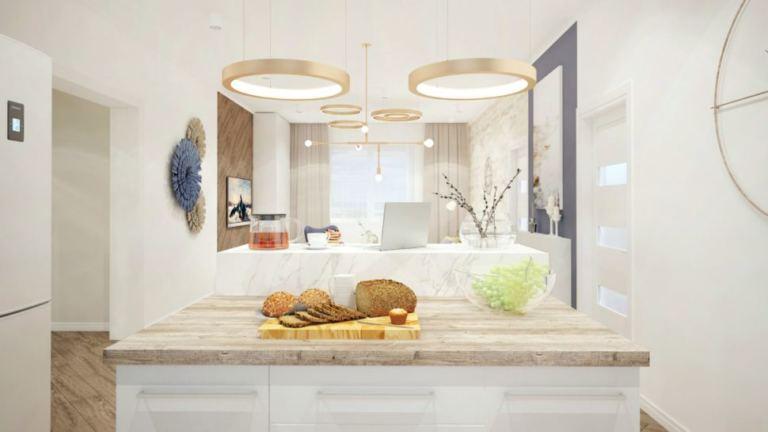 Проект гостиной с синими акцентами, люстра, декор, белый кухонный остров, столешница под дерево