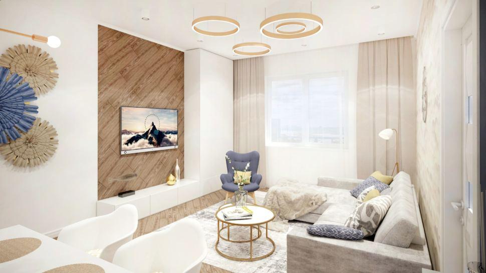 Визуализация гостиной в теплых тонах, журнальный столик, серый диван, синее кресло, люстра, пвх плитка