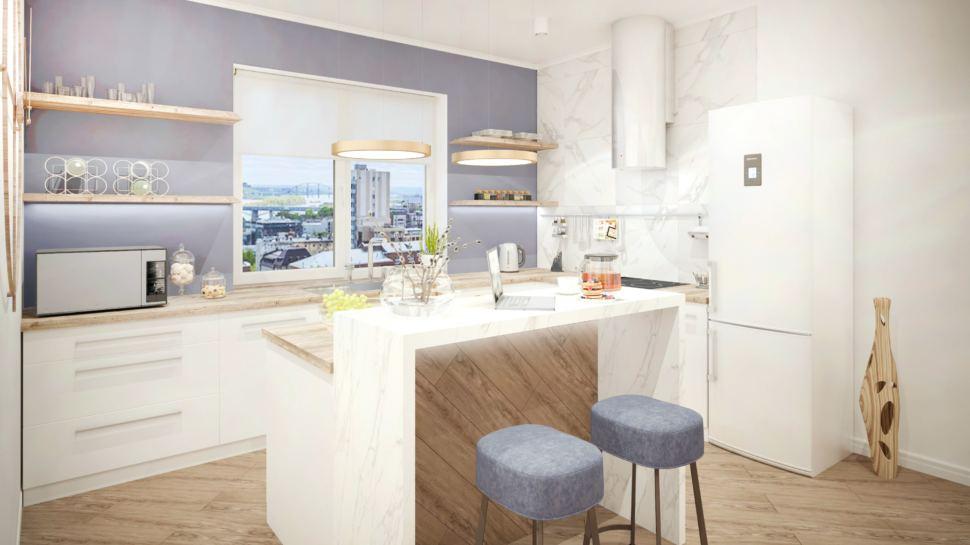 Кухня 40 кв.м в природных тонах, белый холодильник, полки, кухонный остров, барная стойка, стулья