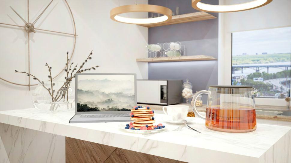 Гостиная 40 кв.м в светлых тонах, белый кухонный остров, полки, микроволновка, часы, подвесная люстра