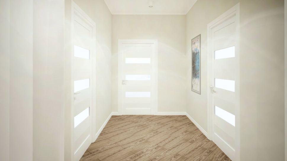 Визуализация коридора 7 кв.м в коттедже с белыми оттенками, ламинат, декор, межкомнатные двери, светильники