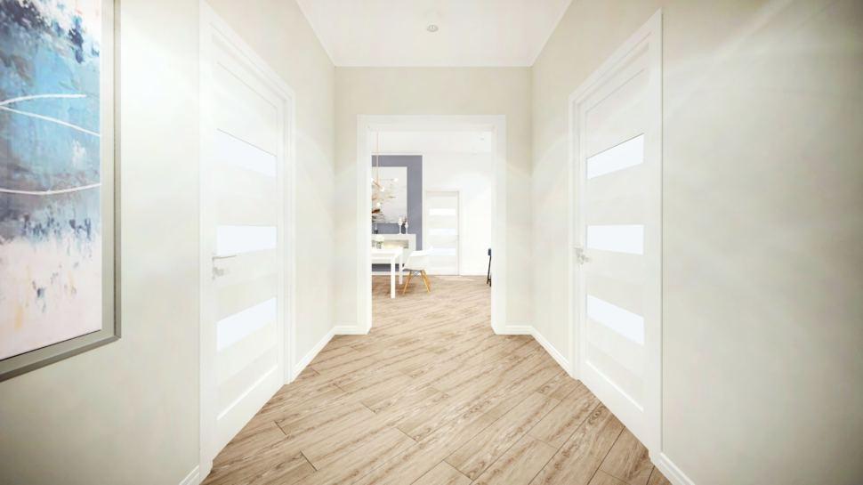 Дизайн интерьера коридора 7 кв.м в коттедже с серыми оттенками, ламинат, декор, светильники