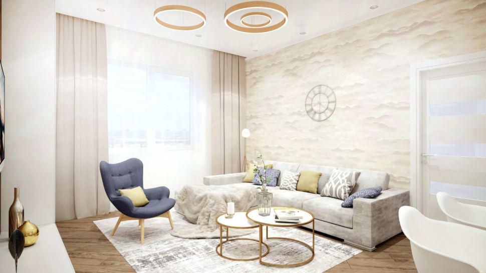 Дизайн интерьера гостиной-кухни 40 кв.м в коттедже в золотых тонах в сочетании со сложно-синим оттенком, серый угловой диван