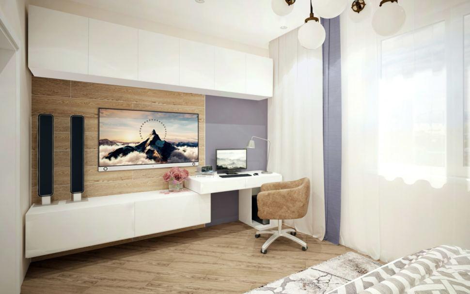 Комната для гостей с синими оттенками, белая тумба под ТВ, стол, кресло, телевизор, портьеры