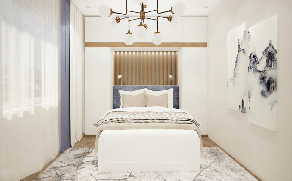 Визуализация гостевой 15 кв.м в бежевых тонах, белая кровать, люстра, интерьерная картина, люстра, бра