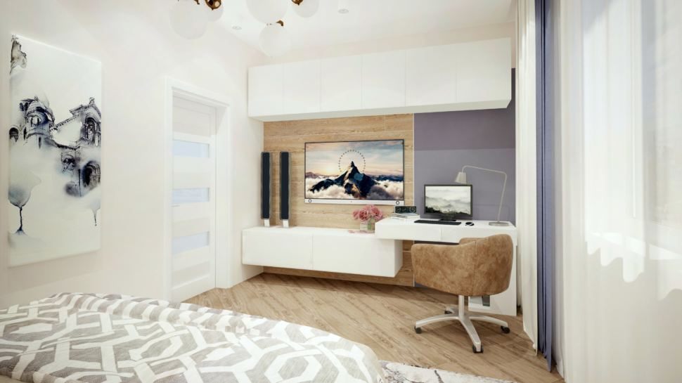 Гостевая комната 15 кв.м в бежевых тонах, подвесной шкафчик, телевизор, стол, кресло, кровать, тумба