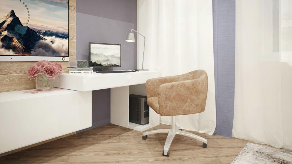 Интерьер гостевой 15 кв.м с синими акцентами, рабочий стол, бежевое кресло, телевизор, белая тумба
