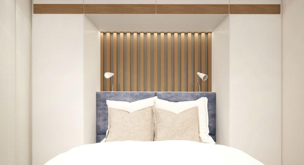 Гостевая комната 15 кв.м в теплых тонах, кровать, светильники, белый шкаф, декоративные деревянные рейки