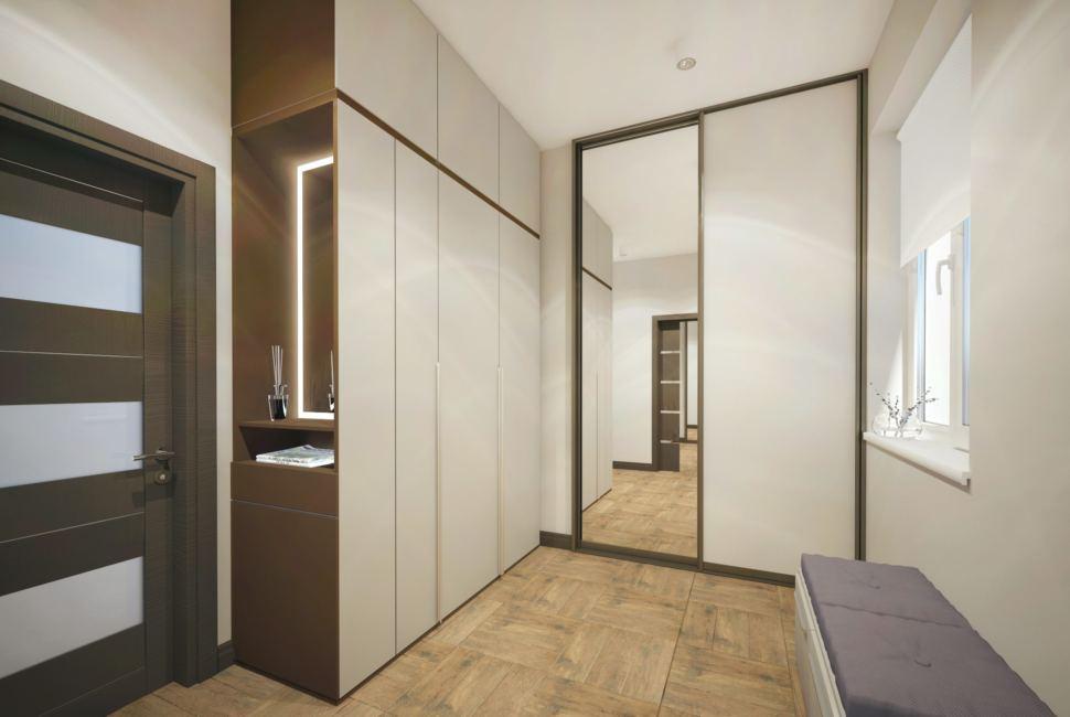 Дизайн интерьера прихожей 8 кв.м в частном доме с серыми оттенками, белая скамья, зеркало, полки,белый шкаф-купе