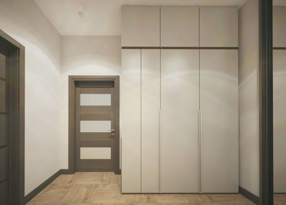Визуализация прихожей 8 кв.м в частном доме с молочными оттенками, белая скамья,белый шкаф-купе, зеркало, полки