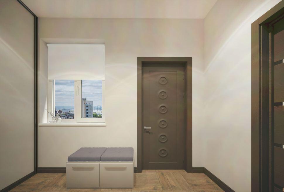 Дизайн-проект прихожей 8 кв.м в частном доме с белыми оттенками, белая скамья,белый шкаф-купе, полки, зеркало