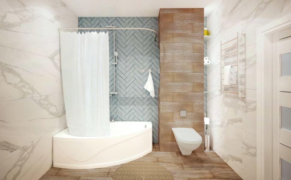 Интерьер ванной в природных оттенках, подвесной унитаз, ванная, полотенцесушитель, керамический гранит под дерево