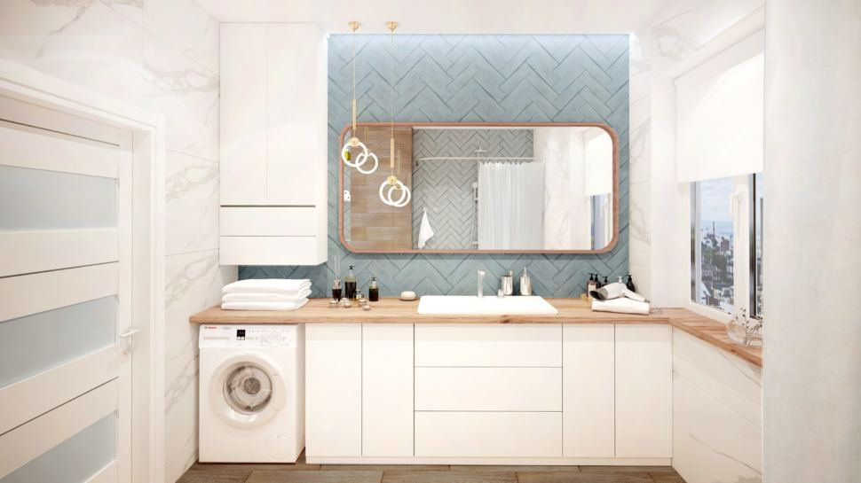 Ванная комната 10 кв.м с синими оттенками, стиральная машинка, зеркало, раковина, белый шкаф, мрамор