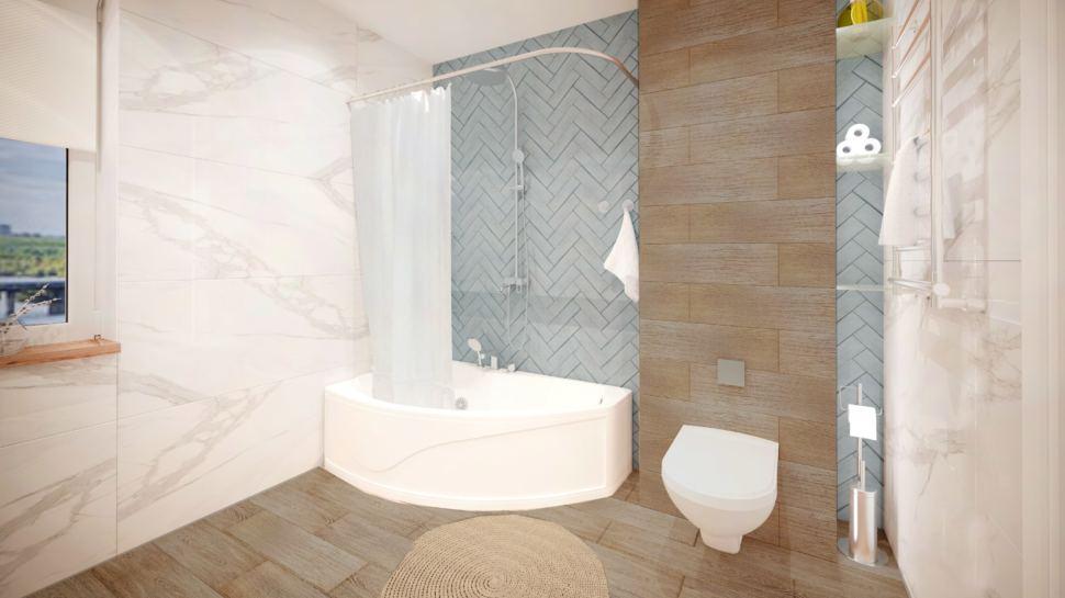 Ванная площадью 10 кв.м, полки, ванная унитаз, синяя плитка, мрамор, керамический гранит под дерево