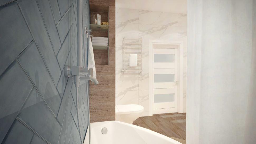 Ванная комната 10 кв.м в белых тонах с акцентами сложного синего цвета, ванная, полки