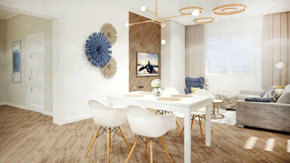 Дизайн- проект гостиной в теплых тонах с синими акцентами, обеденная группа в белом цвете, диван, люстра