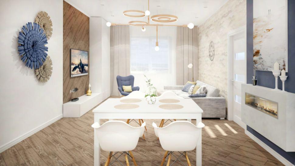 Гостиная 40 кв.м в светло - бежевых тонах, стол, стулья, бежевые портьеры, серый кресло, электрический камин
