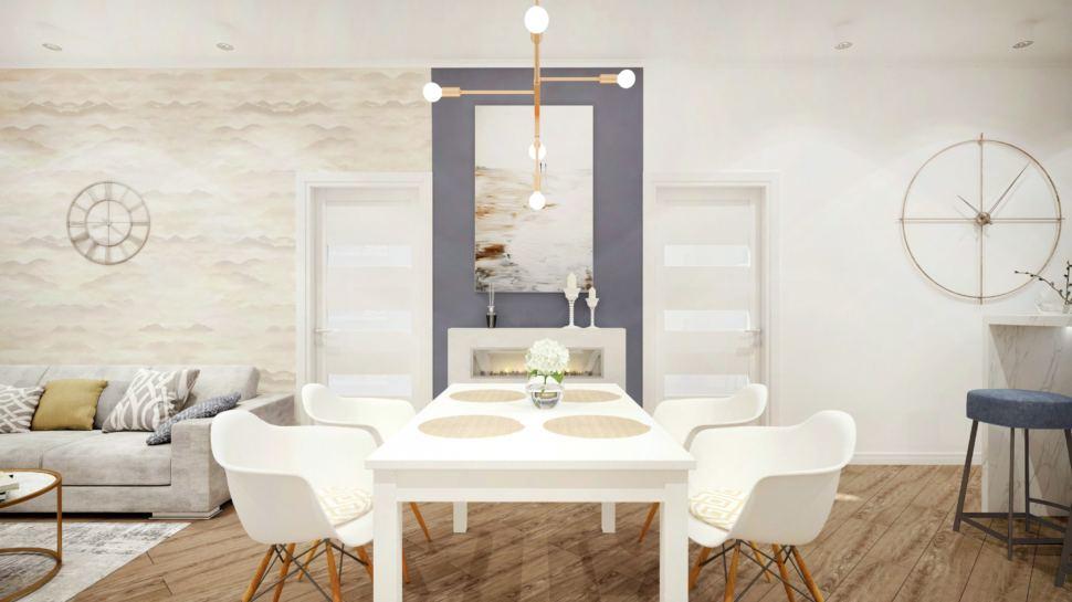 Дизайн гостиной с акцентами сложного синего цвета, стол, белые стулья, акцентная люстра, картина, фреска