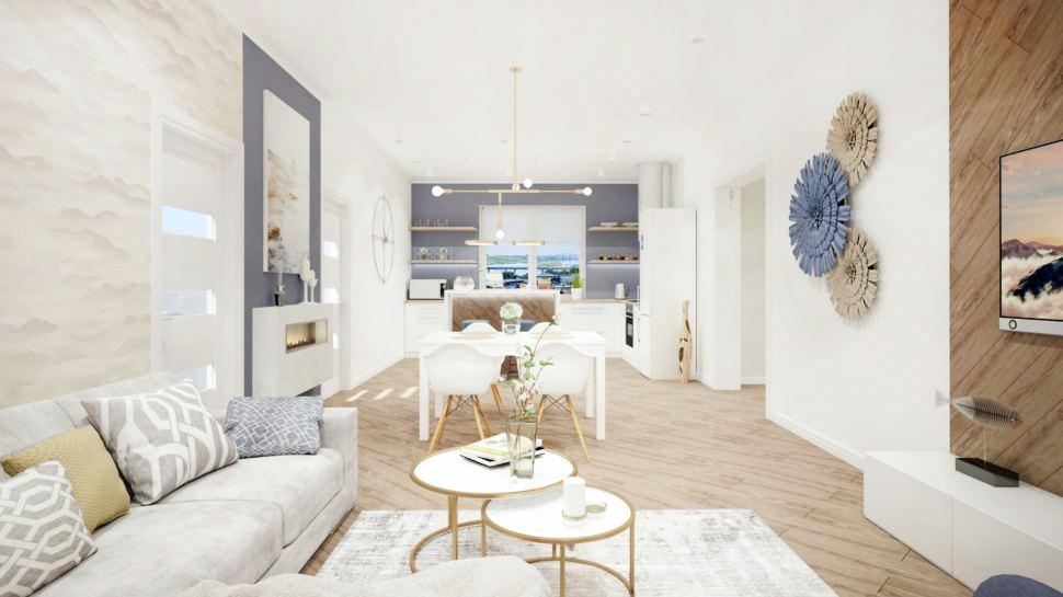 Кухня - гостиная в теплых тонах с акцентами, белый журнальный столик, диван, обеденная группа, дизайнерский ковер