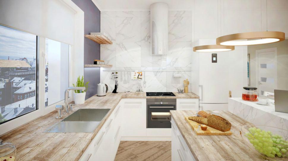Визуализация кухни в теплых тонах с синими акцентами, кухонный гарнитур, плитка под мрамор, полки