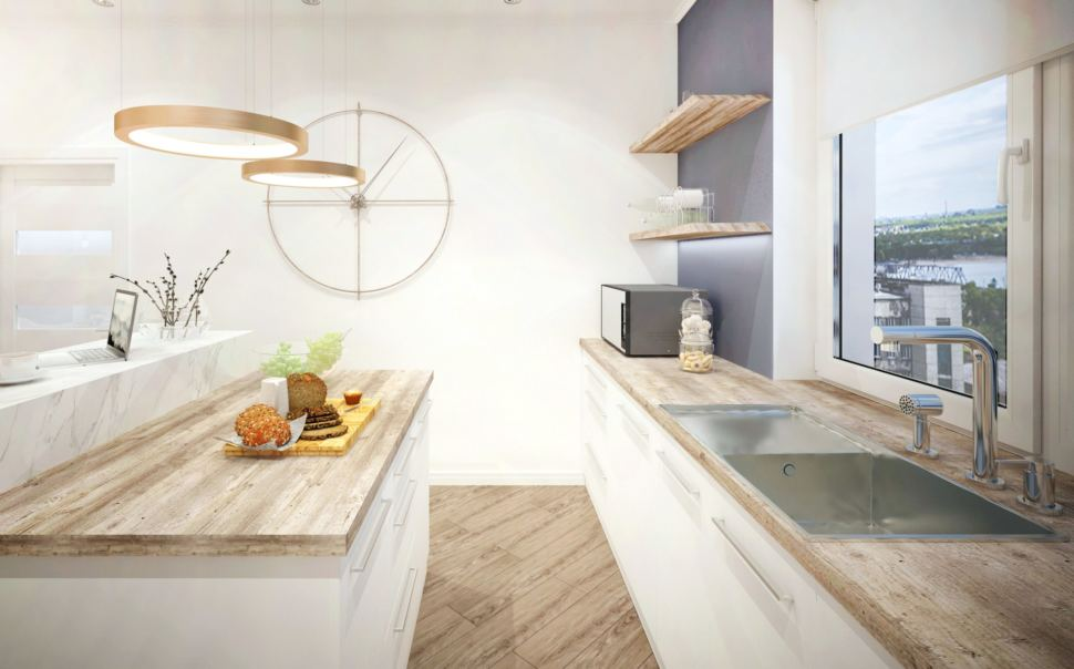 Кухня 40 кв.м в теплых тонах, кухонный остров, подвесная люстра, часы, открытые полки под дерево