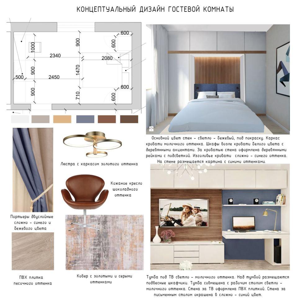 Концептуальный коллаж гостевой комнаты 15 кв.м, люстра, кресло, кровать, двуслойные портьеры, тумба под ТВ