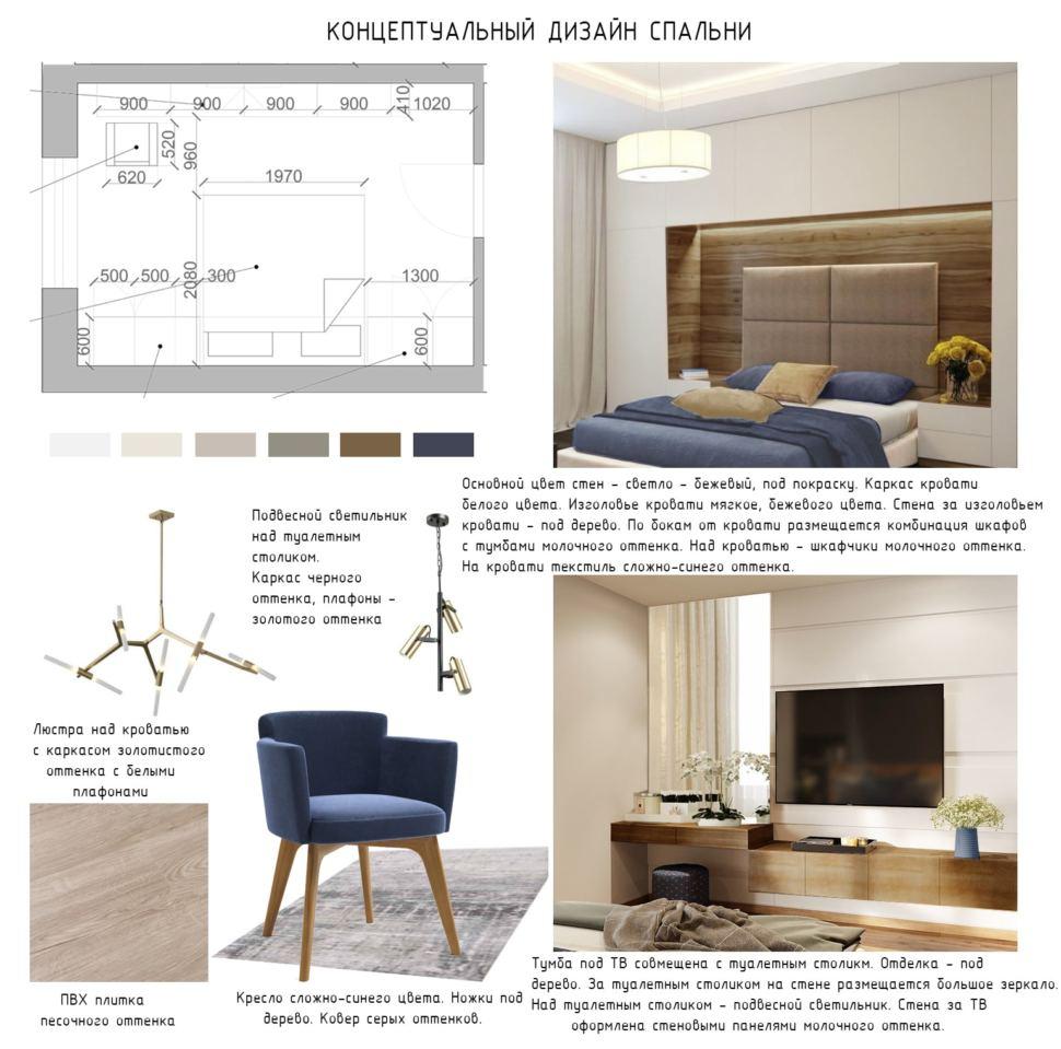 Концептуальный дизайн спальни 17 кв.м, синие кресло, кровать, люстра, пвх плитка, телевизор, система хранения