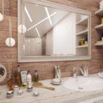 Визуализация ванной комнаты в белых тонах 8 кв.м, зеркало, золотые подвесные светильники, полки, раковина, столешница под мрамор