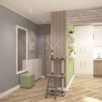 Дизайн коридора 2 кв.м в теплых тонах с фисташковыми оттенками, белая галошница, зеркало, фисташковый пуфик