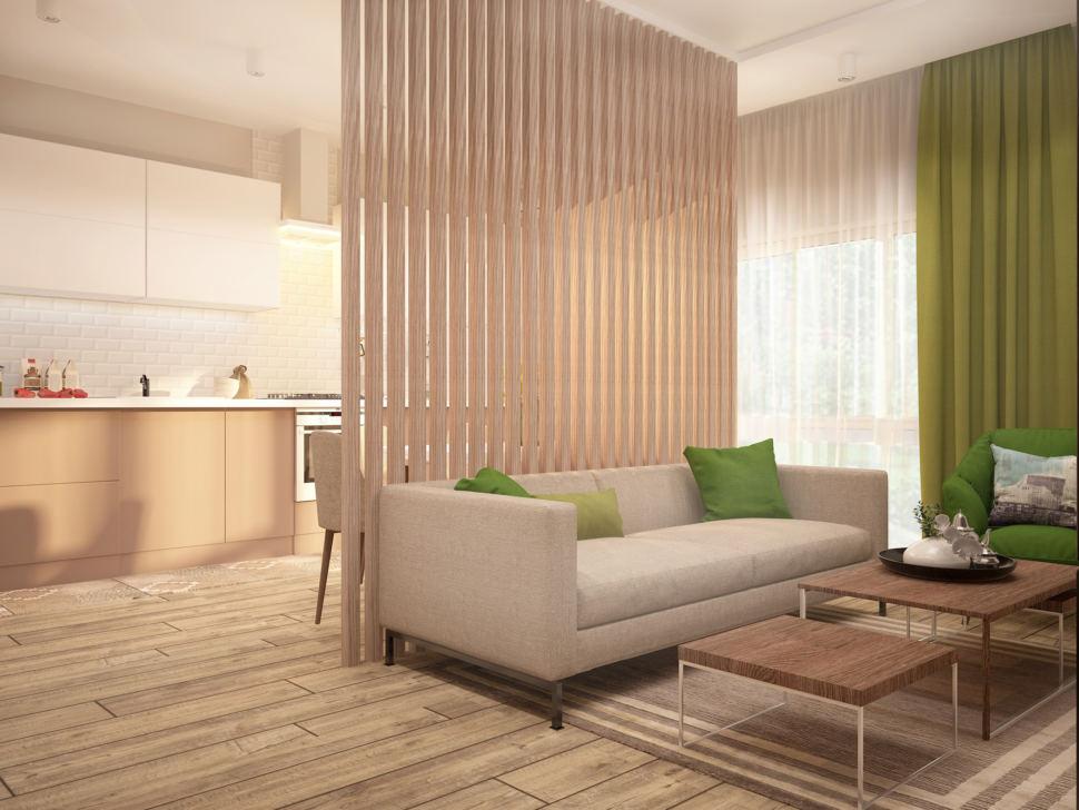 Проект кухни-гостиной в бежевых тонах с зеленными оттенками 28 кв.м, бежевый диван, журнальный столик
