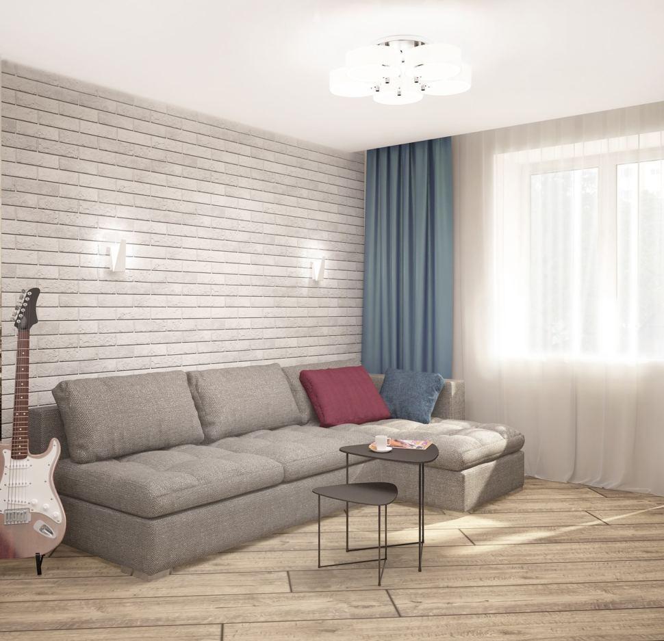 Дизайн-проект гостиной в серых тонах с синими акцентами 18 кв.м, серый угловой диван, люстра, журнальный столик, синие портьеры
