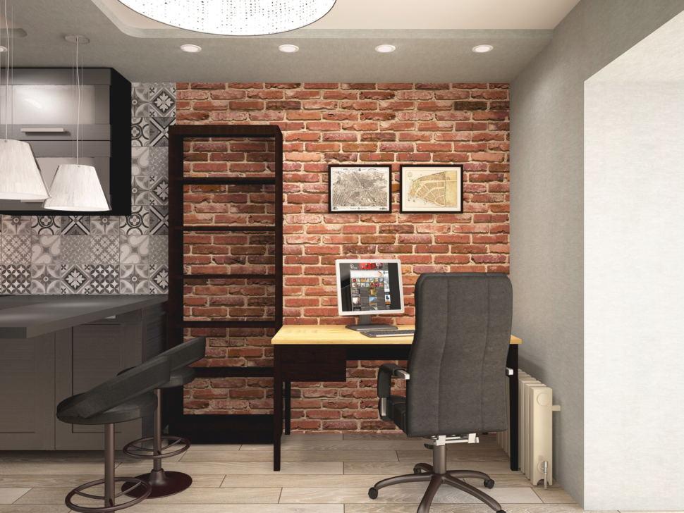 Дизайн интерьера спальни 13 кв.м с рабочей зоной в стиле Лофт с кирпичными оттенками, подвесное кресло, черное кресло, барные стулья