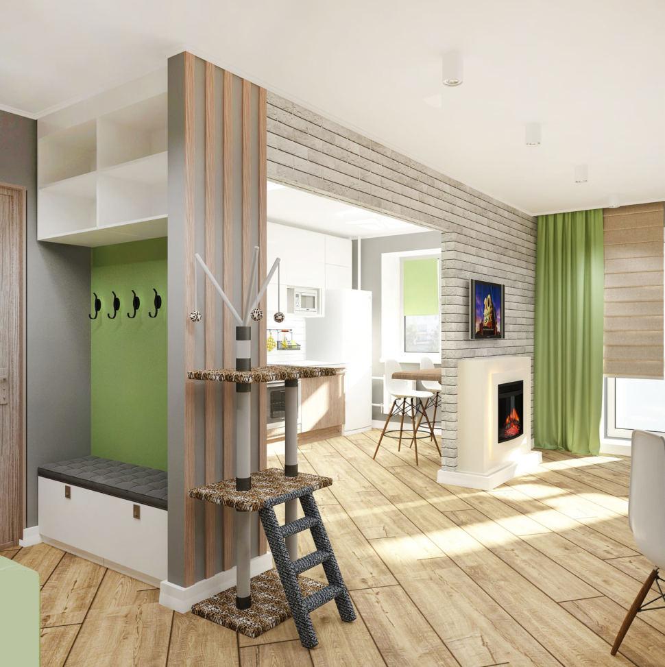 Дизайн коридора 2 кв.м в серых тонах, белый шкаф, открытая вешалка, бежевый паркет, декоративные рейки