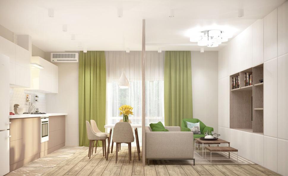 Дизайн-проект кухни-гостиной в бежевых тонах с зеленными оттенками 28 кв.м, бежевый диван, журнальный столик, светильник