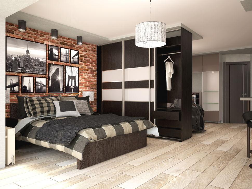 Дизайн-проект спальни 13 кв.м с рабочей зоной в стиле Лофт с серыми оттенками, подвесное кресло, черное кресло