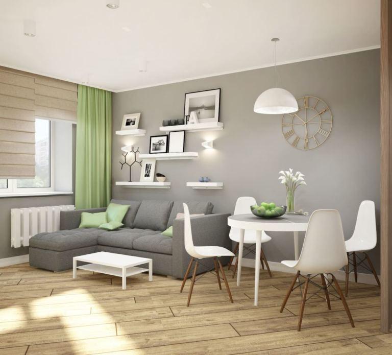 Визуализация гостиной 11 кв.м, серый диван, белый кофейный столик, полки, часы, подвесной светильник, фисташковые портьеры