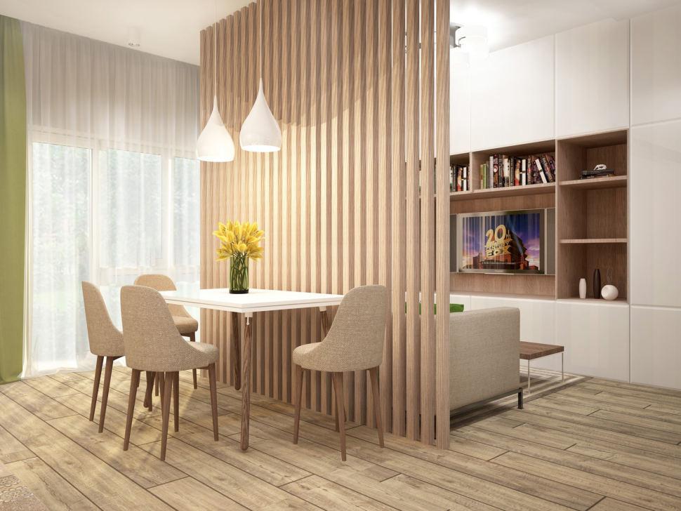Визуализация кухни-гостиной в бежевых тонах с зеленными оттенками 28 кв.м, обеденный стол, бежевый стулья, диван, белый шкаф