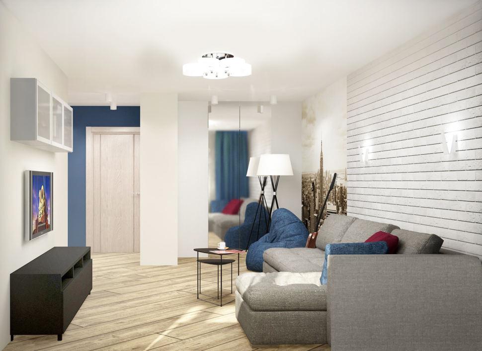 Визуализация гостиной в серых тонах с синими акцентами 18 кв.м, черная тумба под ТВ, телевизор, белый шкаф, зеркало, угловой диван