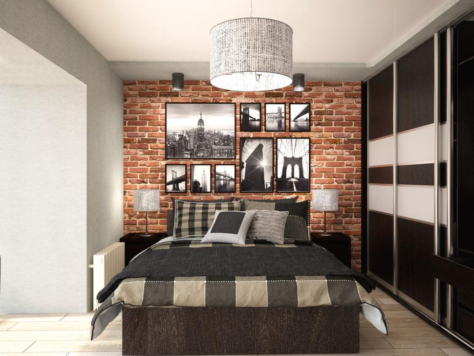 Визуализация спальни 13 кв.м с рабочей зоной в стиле Лофт с древесными оттенками, подвесное кресло, черное кресло