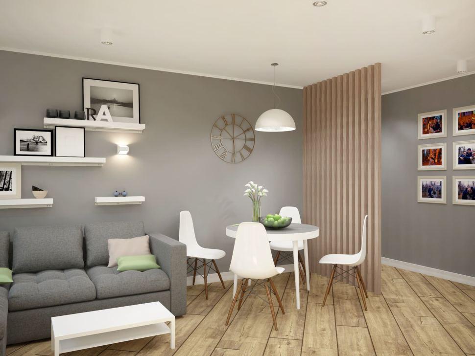 Дизайн гостиной 11 кв.м в серых тонах, обеденный стол, белые стулья, серый диван, полки, перегородка