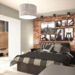 Визуализация кухни- гостиной в темных тонах 14 кв.м, кровать, черные прикроватные тумбочки, люстра, подвесное кресло