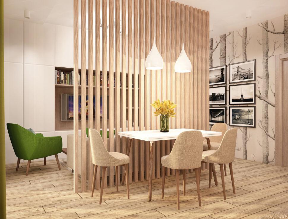 Дизайн интерьера кухни-гостиной в бежевых тонах с зеленными оттенками 28 кв.м, белый обеденный стол, бежевые стулья