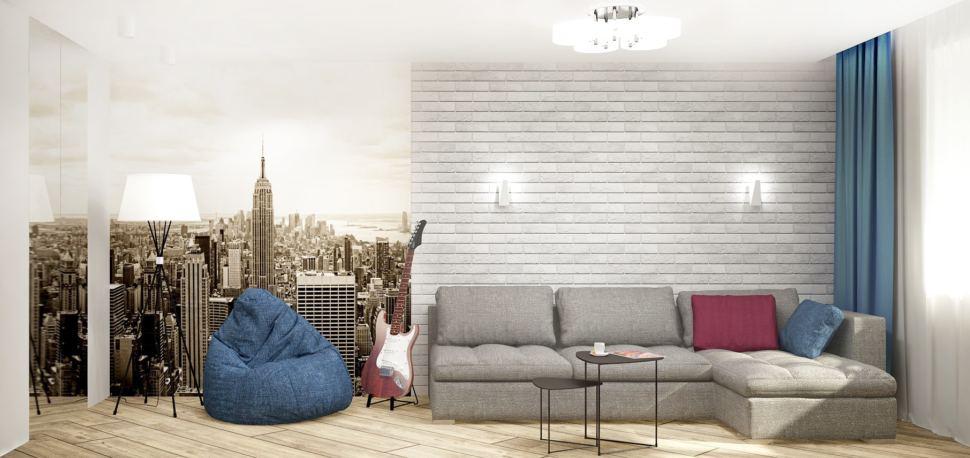 Проект гостиной в серых тонах с синими акцентами 18 кв.м, синие кресло-мешок, серый угловой диван, фотообои