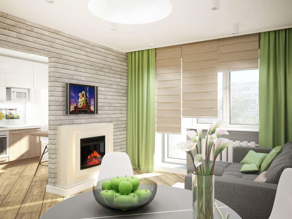 Визуализация гостиной 11 кв.м с зеленными оттенками, серый диван, белый электрический камин, серый обеденный стол
