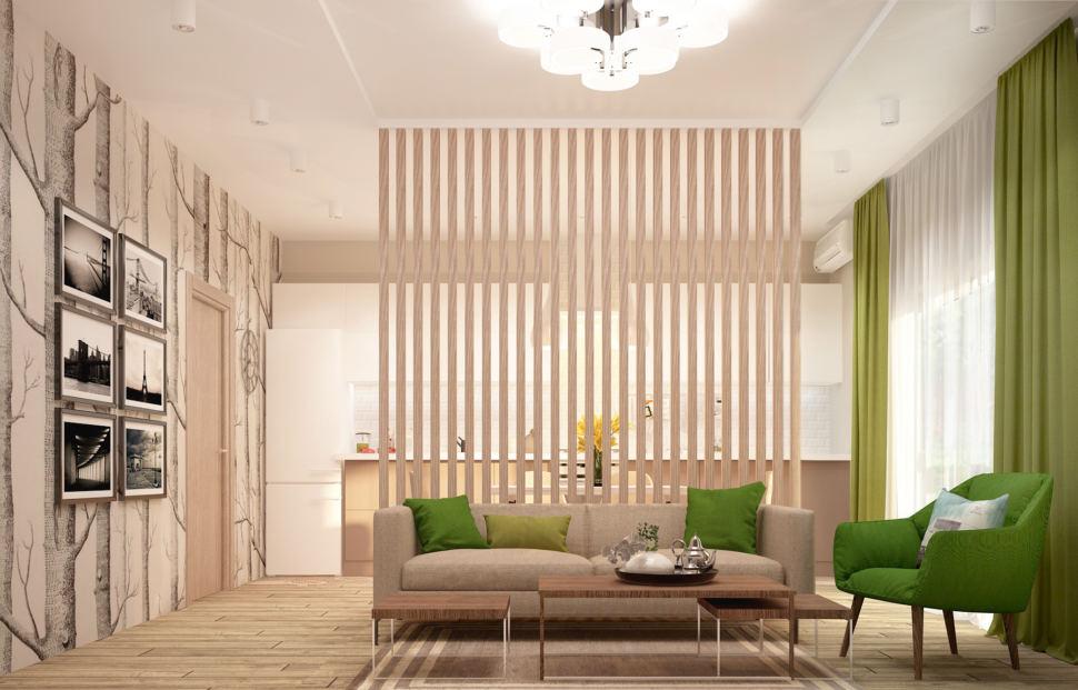 Визуализация кухни-гостиной в бежевых тонах с зеленными оттенками 28 кв.м, бежевый диван, зеленое кресло, журнальный столик