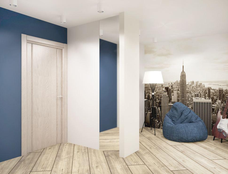Визуализация гостиной в серых тонах с синими акцентами 18 кв.м, синие кресло-мешок, напольная лампа, фотообои, зеркало, светильники