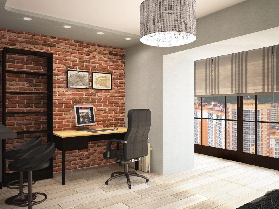 Визуализация спальни 13 кв.м с рабочей зоной в стиле Лофт с черными оттенками, подвесное кресло, черное кресло