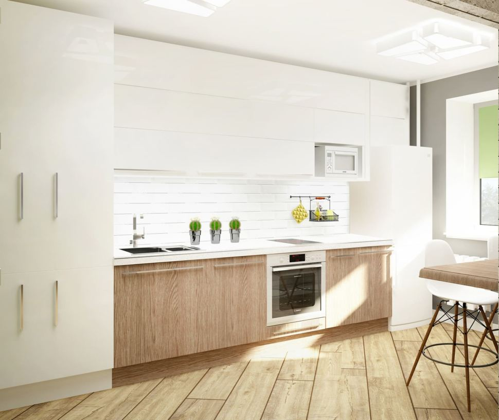 Дизайн кухни 11 кв.м в светлых тонах, бело-бежевый кухонный гарнитур, белый холодильник, микроволновка, плитка керамическая