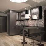 Проект кухни- гостиной в темных тонах 14 кв.м, кухонный гарнитур, черная барная стойка, барные стулья, бежевый паркет